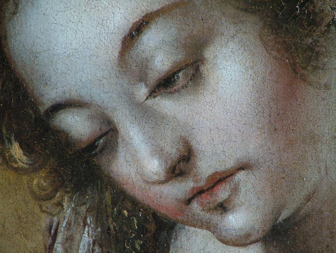 Annunciazione - quadro restaurato - ignoto prima metà del 1600 volto Madonna